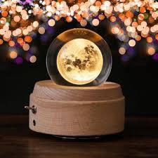 DecBest <b>Moon Crystal Ball Wooden</b> Luminous Music Box Rotary ...