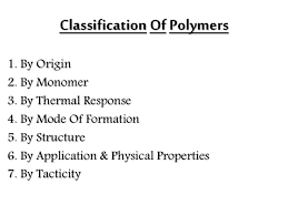 Monomer And Polymer Chart Classification Of Polymer On Different Basis
