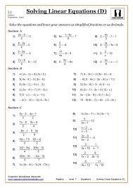ks3 ks4 maths worksheets printable with answers equations fractions worksheet tes al equations with fractions worksheet