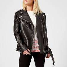 karl lagerfeld women s oversized leather biker jacket black image 1
