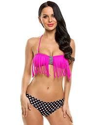 Ekouaer Women Sexy Two Piece Padded Tassel Polka Dot Split Swimsuit Bikini Set