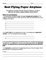 scientific method best flying paper airplane by miss parry s scientific method best flying paper airplane