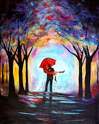 on couple with red umbrella wall art with couple painting couple art print red umbrella love wall art