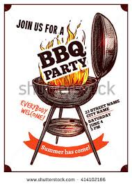 Bbq Poster Bbq Barbecue Vintage Party Poster With Fire And Typography Stock