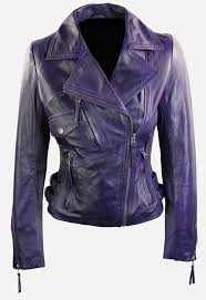 jacketswomens short fitted leather motorcycle jacket purple previous next