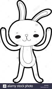 Outline Cartoon Rabbit Animal With Hands Up Stock Vector Art
