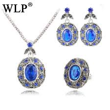 2019 wlp big natural stone blue opal jewelry sets antique black crystal rhinestone pendant necklace earrings ring set accessories from junemay