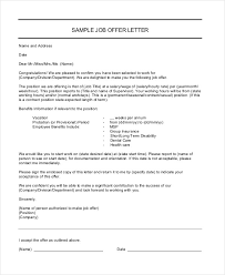 how to write a job offer letter job offer letter 9 free sample example format free