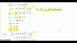 find the equation of the parabola given its vertex and y intercept
