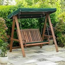 garden swinging wooden bench outdoor