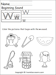 Alphabet w sound handwriting worksheets for kids including consonent sounds, short vowel sounds and long vowel phonics. Free Beginning Sounds Worksheet Letter W Free4classrooms