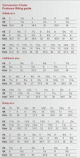 Standard Size Chart For Shoes Capezio Shoe Size Charts