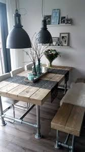 industrial reclaimed wood plank dining table with industrial kitchen table bench