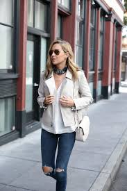 leather jacket bandana neck scarf ripped jeans