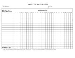 Daily Attendance Record Form Template Employee Excel Castillofamily Co