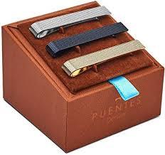 Puentes Denver Men's Tie Clip Bar <b>Set</b>, Textured, Silver/<b>Black</b>/<b>Gold</b>