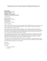 Medical Receptionist Cover Letter Sample Cover Letter Examples For