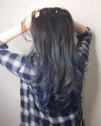 Blue Grey Ash With Ombré Balayage