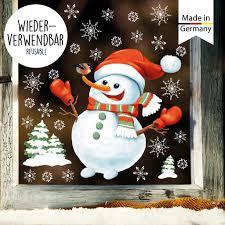Fensterbild Weihnachten Schneemann Schneeflocken Wiederverwendbar