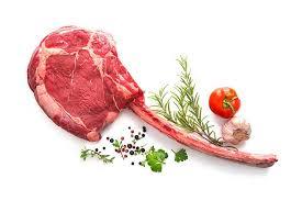 tomahawk steak with large bone in rib