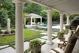garden columns. Marvelous Flagstone Pavers Vogue Dc Metro Traditional Landscape Image Ideas With Columns Formal Fountain Garden Landscaping Loggia Metal Roof Outdoor