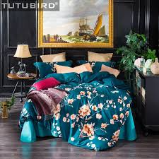 luxury bedding sets blue satin indian egyptian cotton sheet linen duvet cover queen king size pillowcase hometextile asian bedding queen duvet cover sets