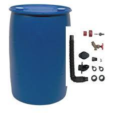 blue 55 gallon drum. Exellent Drum EarthMinded 55 Gal Blue Plastic Drum DIY Rain Barrel Bundle With Diverter  System In Gallon W