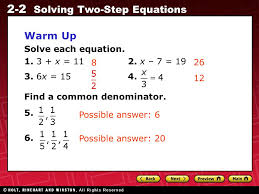 2 warm up solve each equation