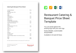 Restaurant Catering Banquet Price Sheet Template In Word