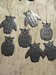 Vintage Halloween owl wind chimes, metal owls w/ antique copper finish