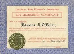 no obrien documents membership certificate