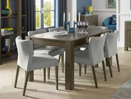 bentley designs turin dark oak rectangular extending dining set with low back pebble grey fabric upholstered