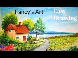 a beautiful scenery drawing with oil