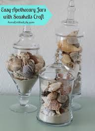 Apothecary Jars with Seashells; a simple craft to display your beautiful  seashells. http:
