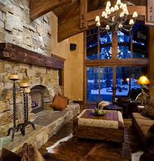 Open Stone Fireplace Modern Home Interior Design Compact Country Living Room With