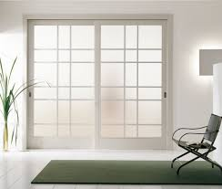 Small Interior Doors Modern Interior Sliding Door Featuring An Inset Acid Etched Glass