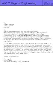 Sample Formal Letter Format Simple Sample Permission Letter For Industrial Visit INDUSTRIAL TOURS