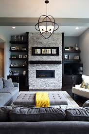 living room with stone fireplace with tv. Living Hall Designs Room Transitional With Stone Fireplace Tv And Wall Orb Pendant