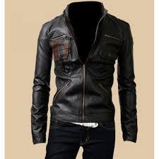 rider black zipper pocket leather jacket for men black leather jacket