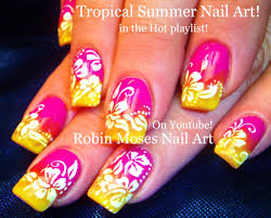 Neon Gradient Nails with White Flower Nail Art Design Tutorial ...