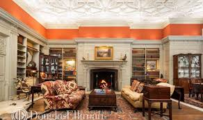 Ornamentation on ceilings and built-in bookshelves is typical of prewar.
