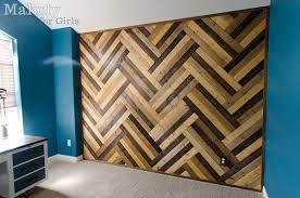 diy herringbone wood paneled wall makely