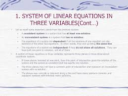 system of linear equations in three variables cont