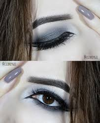 black smoky eye makeup look with double eyeliner close up pictures