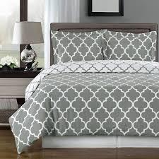 modern moroccan quatrefoil grey and white 3pc cotton duvet cover set