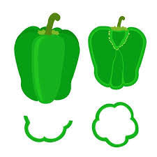 sliced green pepper clipart. Set Of Whole Pepper And Slices In Flat Style Chopped Green Royalty Free Cliparts Vectors Stock Illustration Image 63843245 For Sliced Clipart