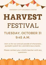 Fall Festival Flier Harvest Festival University City Childrens Center