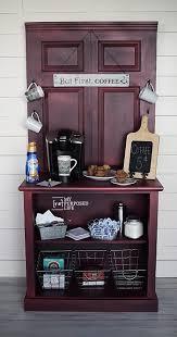 coffee station furniture. Repurposed Door And Dresser Red Glazed Coffee Station Cabinet MyRepurposedLife.com Furniture