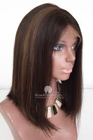 Shoulder Length Virgin Brazilian Hair Highlight Bob Lace Wig Cbw18