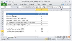 Excel Word Excel Formula Count Total Words In A Range Exceljet
